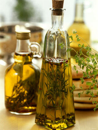 steeping herbs in a glass bottle
